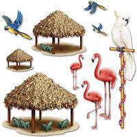 Hawaiian Luau Tiki Hut & Tropical Birds Party Scene Setter Decoration Props
