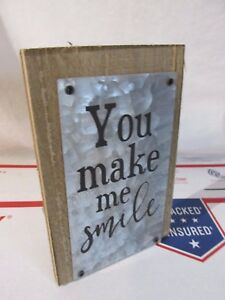 Vintage-Retro-Style-Shabby-Chic-034-SMILE-034-Desk-Table-Tin-Wood-Art-Sign-Womans