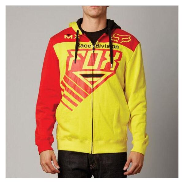 Fox Racing Rojo Amarillo Racer  Moto Zip Hoodie Sweatshirt Sweater con Capucha Polar  venta directa de fábrica