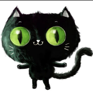 "3"" Black Cat Hair Hiss Kitty Creepy Retro Trippy Goth Horror Vinyl Cool Sticker"