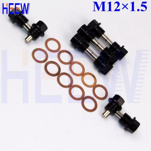 M12X1.5 Engine Magnetic Oil Pan Drain Plug Blot With Crush Washer BLACK 10pcs