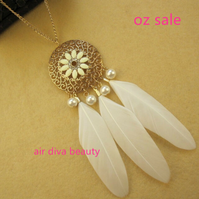 NEW Women Lady Girl Fashion Feather Dream catcher Retro BOHO long chain necklace