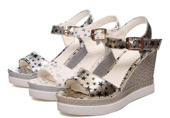 Scarpe ciabatte sabot sandali zeppa 9 oro argentoo bianco comode elegante 8184