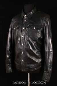 Men/'s ROCKER Black Western Trucker Cowboy POLICE Long Sleeve Real Leather Shirt