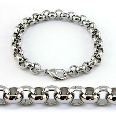 8mm Stainless Steel Shiny Round Rolo chain Bracelet Women Men Jewelry 8.26''