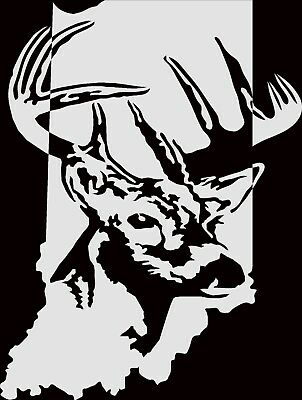 STATE of INDIANIA WHITETAIL DEER CAR DECAL VINYL STICKER WHITE 3 SIZES