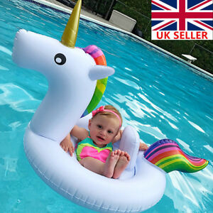35af98b56509 Details about Unicorn Baby Infant Kids Inflatable Swim Ring Boat Swimming  Float Raft Seats UK