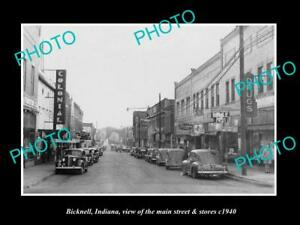 OLD-HISTORIC-PHOTO-OF-BICKNELL-INDIANA-VIEW-OF-THE-MAIN-STREET-amp-STORES-c1940