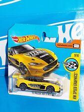 Hot Wheels 2017 Short Card Speed Graphics '15 Mazda MX-5 Miata Yellow VOLK