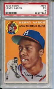 Details About 1954 54 Topps Baseball 128 Henry Hank Aaron Rookie Card Rc Psa 5