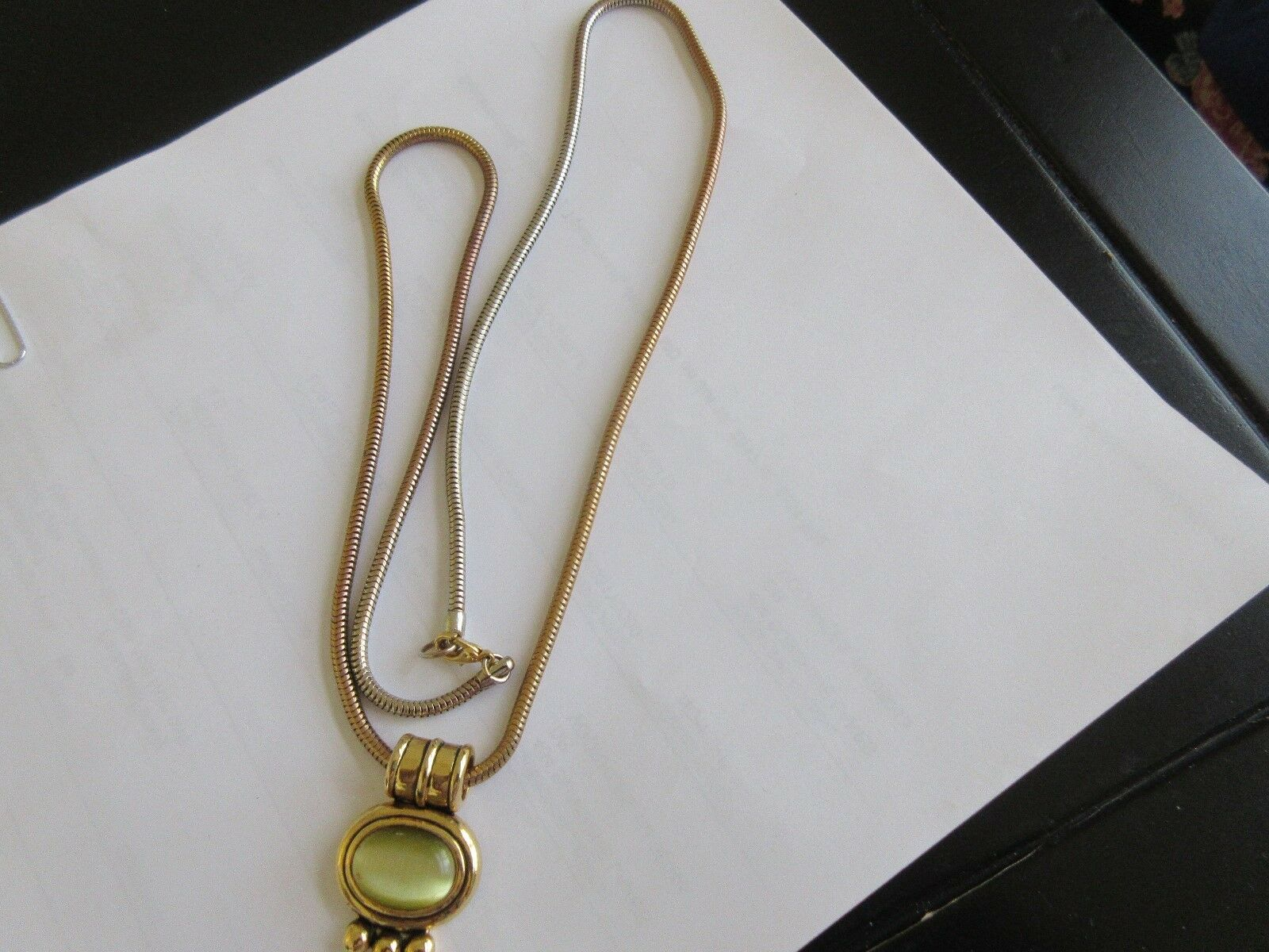 """Ladies Necklace , Chain with Clasp(28"""") , Oval Stone Gr"""