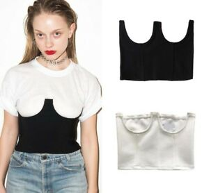 82f90cebfa80d4 Image is loading Structured-Underwired-Braless-Corset-Bustier-Crop-Top-Sexy-