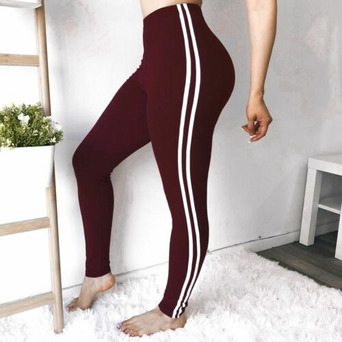 Women Stretch Side Stripes High Waist Yoga Sports Pants Fitness Running Leggings