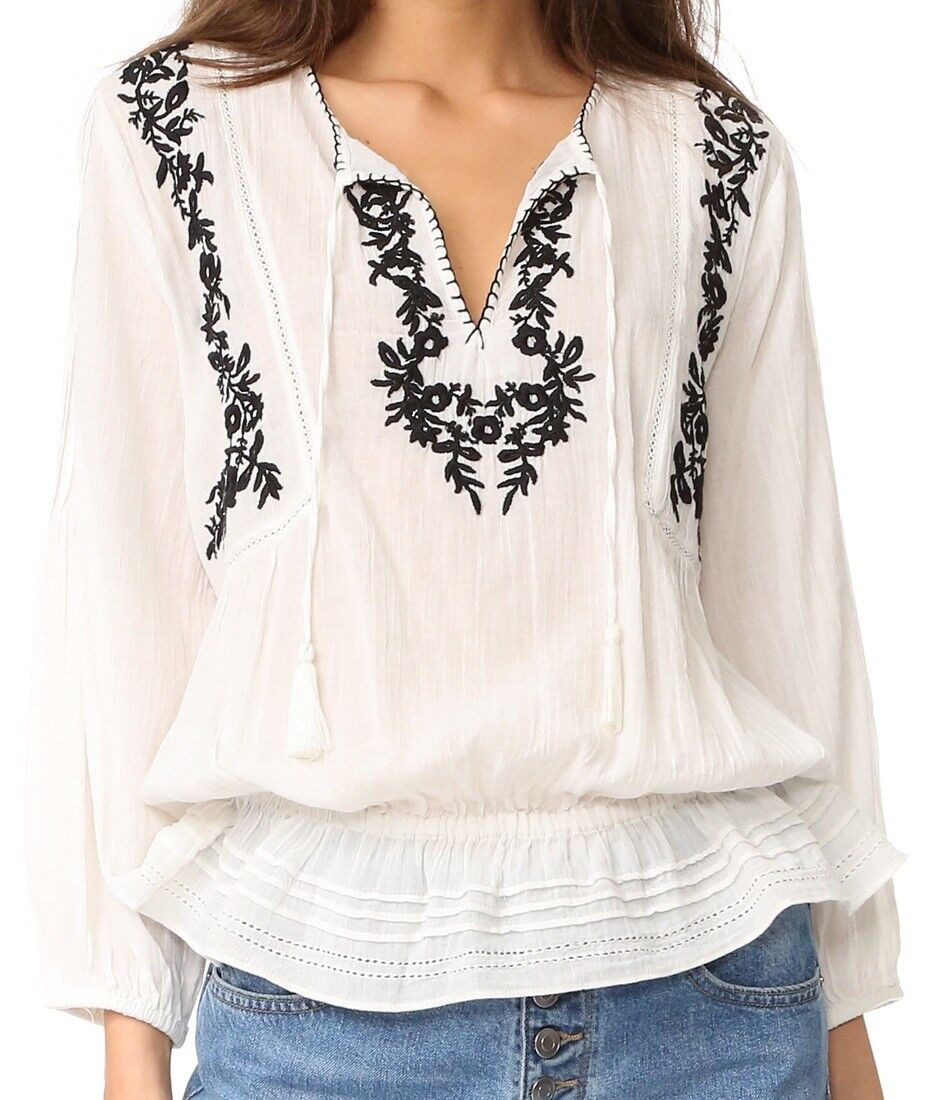 NWT  Joie Floral Embroiderot Cotton Gauze Peasant Blouse
