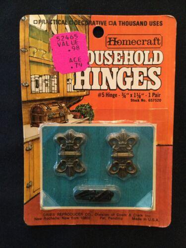 Fleur di lis design Vintage HOMECRAFT  Mini Hinges #5 Stk#657520 NOS 1-Pair NIP