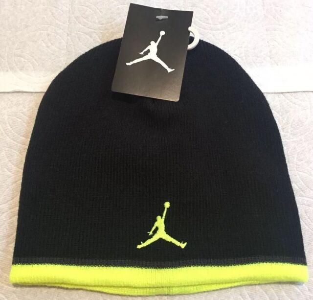 33a166e69b87 Nike Boys Jordan Beanie Sock Hat Black   Volt Jumpman 23 Youth 8-20 ...