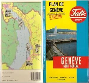 1988 Falk Road Map GENEVA Switzerland Jet dEau Meyrin Choulex Plan