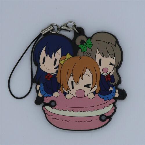 Lovelive Nico Kotori Maki Macarons Keychain Rubber Strap Charm Anime Love Live