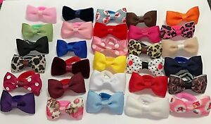2-x-Pair-Baby-Girl-Hair-Bobble-Velvet-Bow-Floral-Leopard-Polka-Dot-Toddler-Clip