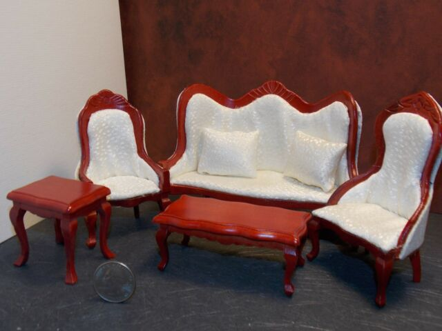 Dollhouse Miniature 5pc Victorian Living Room Set in Mahogany Color ...