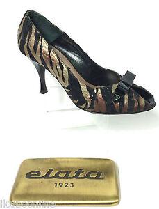 Elata In M Tessuto Elegante Tacco Donna Nero Spuntato Italy Scarpe Cm Tigrato 8 rfgqr