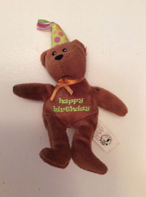 Ty CELEBRATION Bear Brown Happy Birthday 8.5