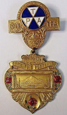Large Assortment Historical Memorabilia Pinbacks Punctual 1911 Portland Oregon Tpa Travelers Protective Association Pinback Button Badge