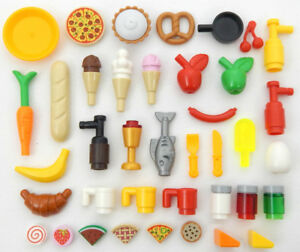 35-LEGO-FOOD-amp-DRINK-LOT-new-parts-accessories-banana-ice-cream-pizza-pie-fish