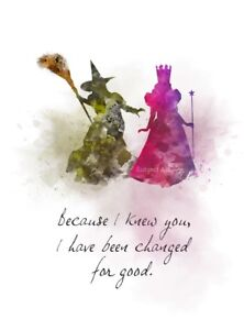 Art Print Glinda Good Witch Elphaba Quote Wicked Musical Wall Art Friend Gift Ebay
