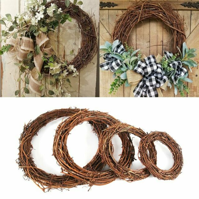 55cm white Large Wicker Wreath Wall Hanging -Heart Country Style