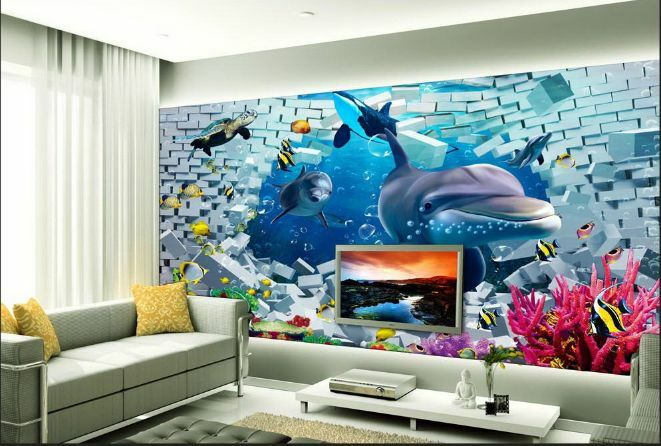 3D Weiße Wand, Delphin 875 Fototapeten Wandbild Fototapete BildTapete Familie