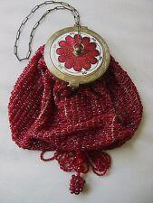 Antique Art Deco Gold T Red White Guilloche Frame Tan Knit Bead Tassel Purse