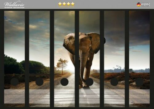 Wallario Ordnerrücken selbstklebend für 6 breite Ordner Elefant Straße Afrika