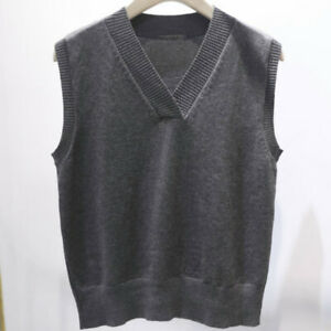 Details about Women Sweater Vest Knit Sleeveless Jumpers Pullover V neck Tops Loose Basic Grey