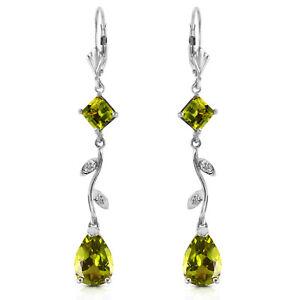 3-97-Carat-14K-Solid-White-Gold-Chandelier-Earrings-Diamond-Peridot