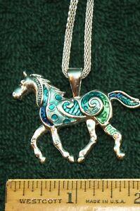 Image Is Loading Large Colorful Enameled Horse Pendant Necklace 20 034