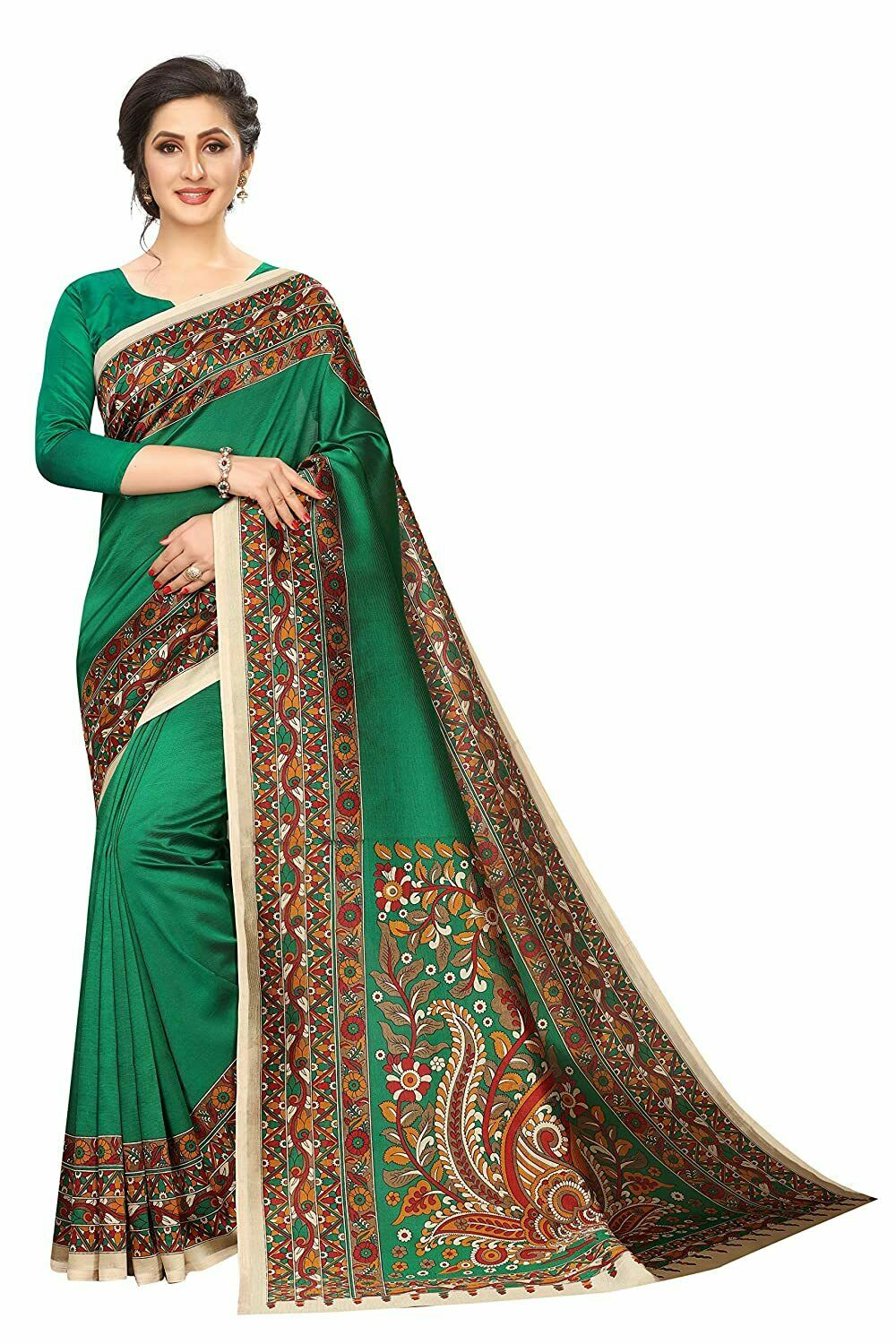 Women's Art Silk Saree With Unstitched Blouse - Free Shipping