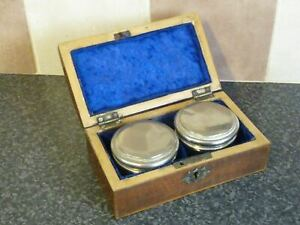 19TH-CENTURY-MAHOGANY-DOMED-TOP-BOX-HOLDING-2-CUT-GLASS-PLATED-POTS-VGC