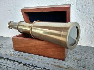 Telescope-longue-vue-en-laiton-patine-en-coffret-bois-neuf-longueur-17cm