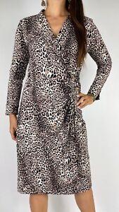 PERRI CUTTEN Leopard Print Long Sleeve Stretch Mock Wrap Dress Size M AU 12-14