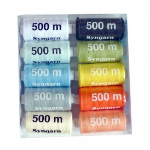 Lot 10 bobines 500m fil à coudre 100/% polyester assorties