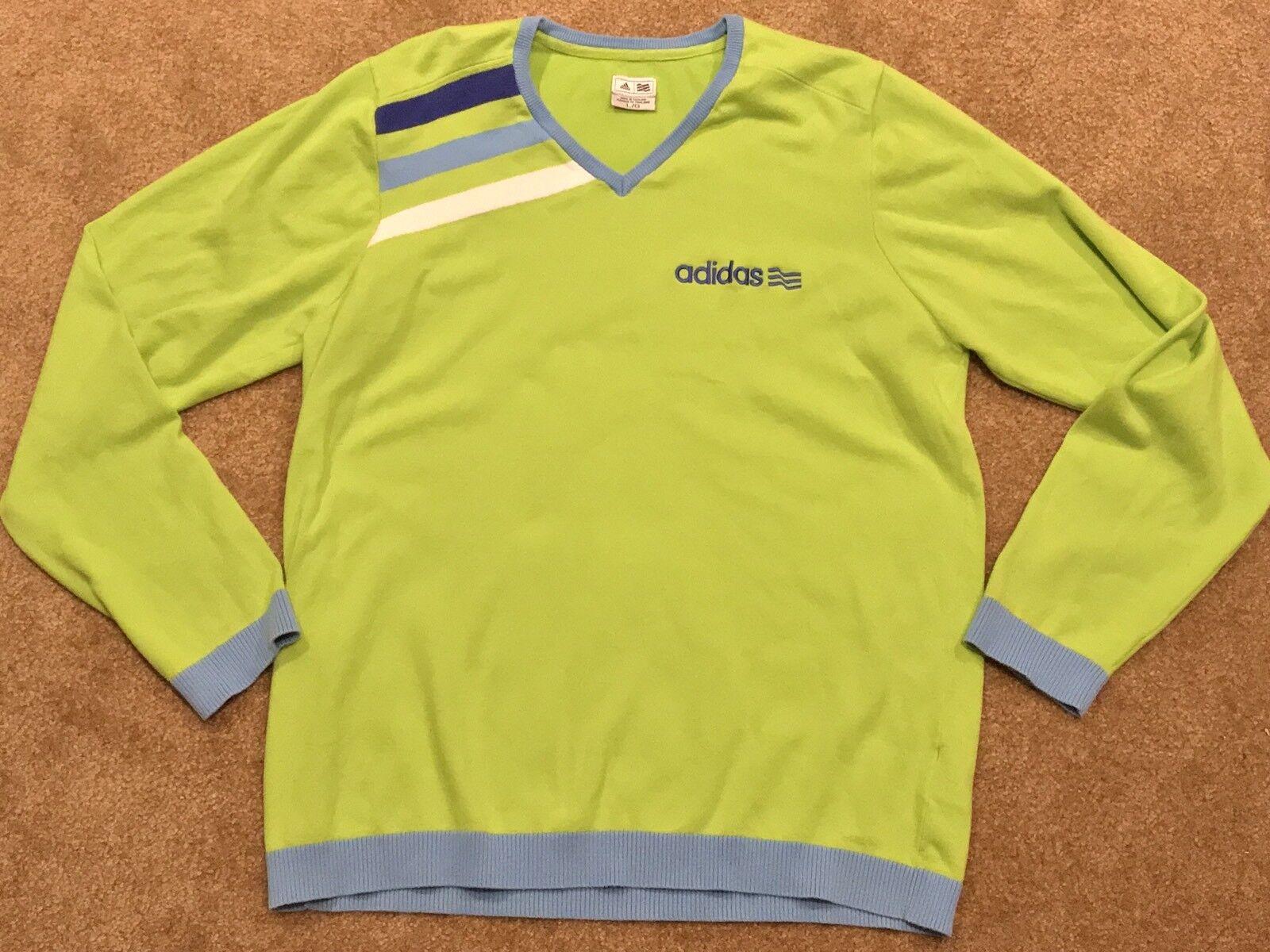 Großer Damen Adidas Classic Old School Vintage 3-Streifen-Pullover mit V-Ausschnitt (L)