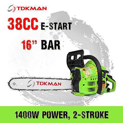 """TDKMAN 38CC Petrol Chainsaw Chain Saw 16"""" Inch Bar Tree Log Pruning Pruner"""