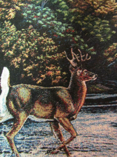 Whitetail Buck Deer autumn country rustic Tapestry Fabric Pillow top 2 Panels