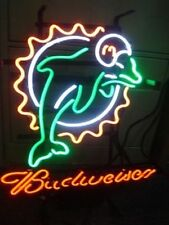 """New Budweiser Miami Dolphins Beer Neon Light Sign 17""""x14"""""""