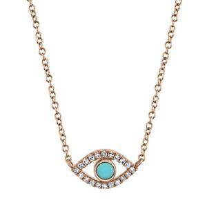 14K-Oro-Rosa-Turquesa-Diamante-Evil-Eye-Todas-Vistas-Collar-con-Colgante-Mujer