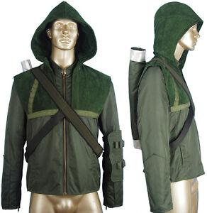 Image is loading Green-Arrow-Oliver-Queen-Hoodie-Jacket-Coat-Halloween-