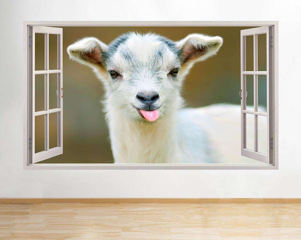 H250 Baby Goat Carino Tongue divertente finestr adesivo da parete camera bambini
