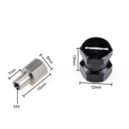 4 pcs-Black RC 1//10 Scale Anodized Aluminum 15MM WHEEL HUB Extension Spacer