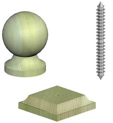 "Mid Size Ball Wooden Sphere Finial Kit Base and Screw to suit 4/"" Fence Post"
